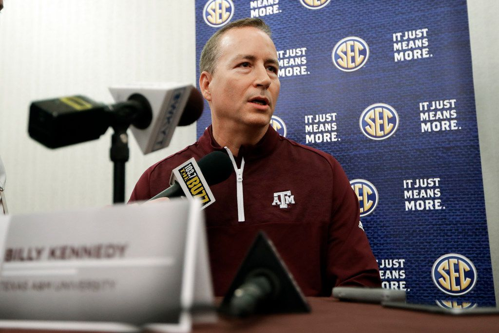 Texas A&M head coach Billy Kennedy answers questions during the Southeastern Conference men's NCAA college basketball media day Wednesday, Oct. 18, 2017, in Nashville, Tenn. (AP Photo/Mark Humphrey)