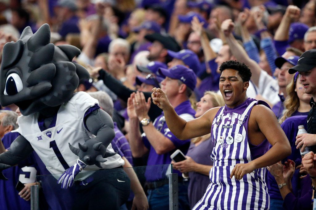 TCU Horned Frogs fans celebrate early as they appear to come back on the Oklahoma Sooners in the first half of the Big XII Championship game at AT&T Stadium in Arlington, Texas, Saturday, December 2, 2017. (Tom Fox/The Dallas Morning News)
