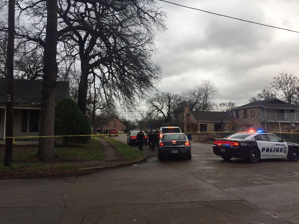 Dallas police block of a street near the scene of the standoff.