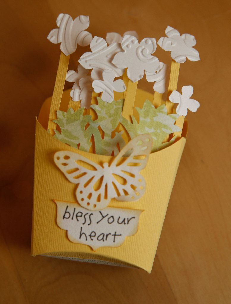 A candy box made out of recycled cards by Casey Eckert.