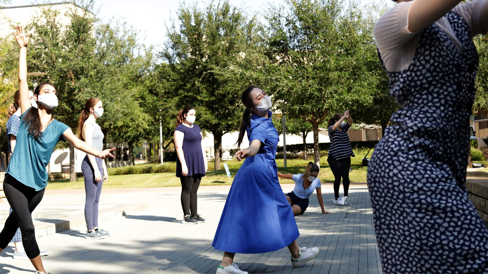 The UTDance Ensemble records a performance at the University of Texas at Dallas in Richardson. The dancers incorporated movements created by participants in a dance class for Parkinson's patients.
