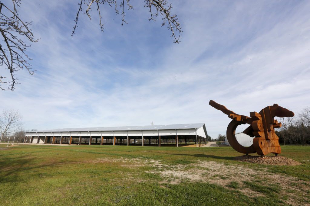 """The arena and the steel sculpture """"Equine Rhythm"""" at the Texas Horse Park at 811 Pemberton Hill Road in southern Dallas."""