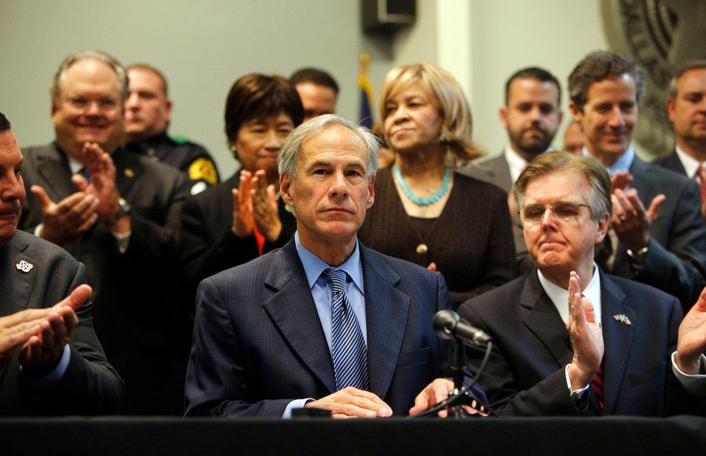 Texas Gov. Greg Abbott speaks to the media to announce the grant funding for rifle-resistant vests for Texas police officers at Dallas Police Association Headquarters in Dallas on Jan. 9, 2018.