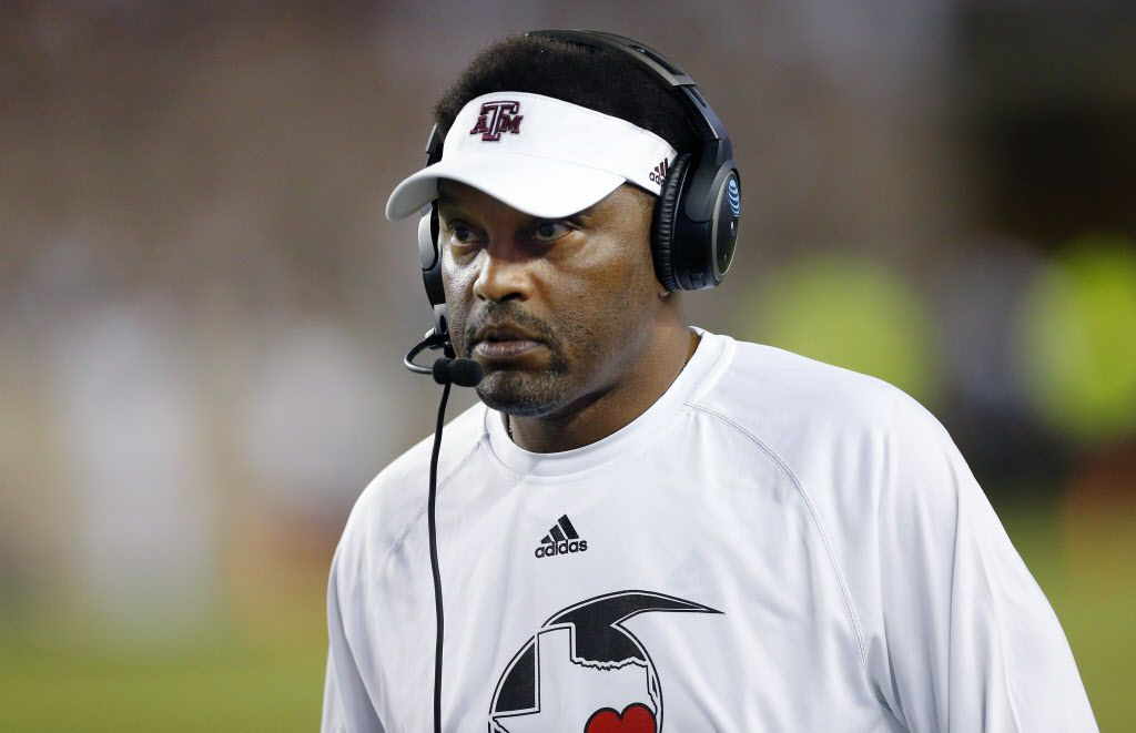 Texas A&M Aggies head coach Kevin Sumlin is pictured after the Nicholls State Colonels tied the game in the fourth quarter at Kyle Field in College Station, Texas, Saturday, September 9, 2017. The Aggies defeated the Colonels, 24-14. (Tom Fox/The Dallas Morning News)