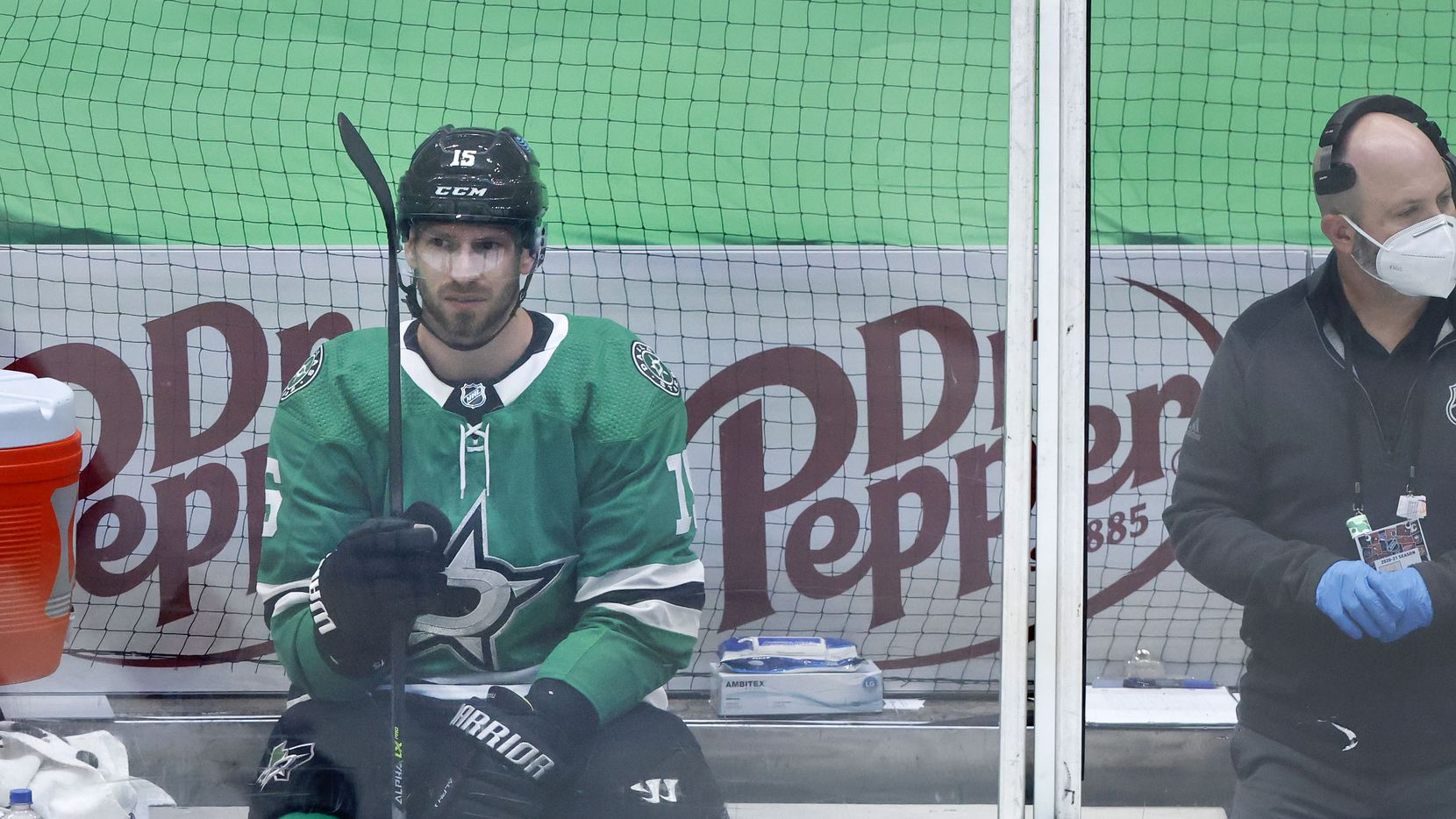 Dallas Stars left wing Blake Comeau (15) spends time in the penalty box during the first period against the Carolina Hurricanes at the American Airlines Center in Dallas, Tuesday, April 27, 2021. (Tom Fox/The Dallas Morning News)