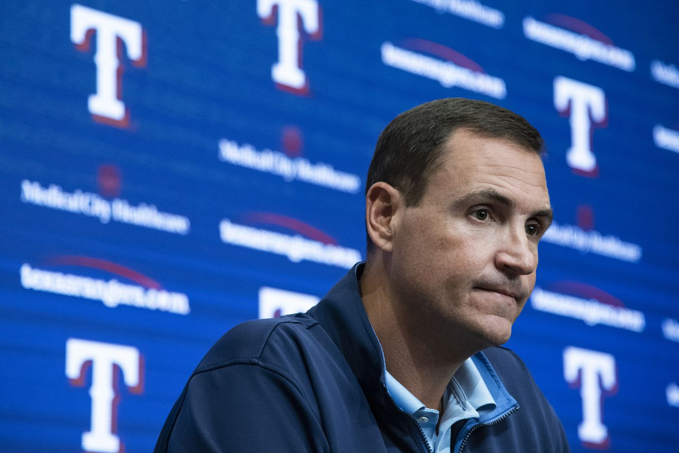 Texas Rangers Executive Vice President and General Manager Chris Young listens to a question from a reporter during the Texas RangersÕ end of the year press conference at Globe Life Field on Wednesday, October 6, 2021 in Arlington, Texas. (Emil Lippe/Special Contributor)