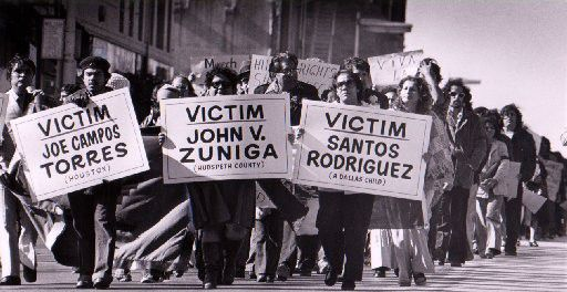 In this archived 1977 photo,  Santos Rodriguez and others slain in police-involved shootings are remembered in a street march in Dallas.