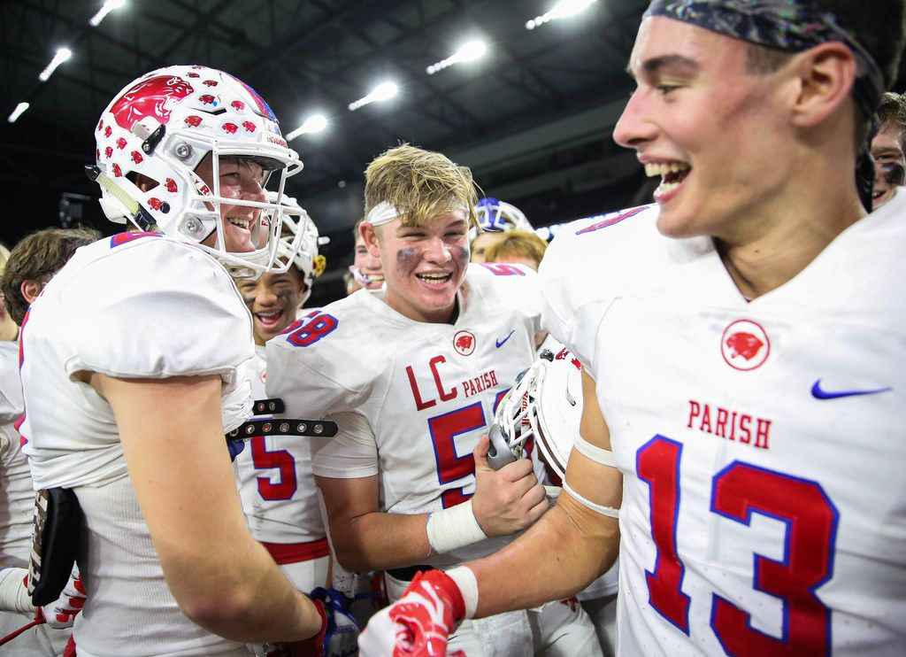 The Parish Episcopal Panthers celebrate after winning a TAPPS Division I state semifinal game against Houston St. Thomas at the Star in Frisco, on Saturday, November 30, 2019. Parish Episcopal won 41-21. (Juan Figueroa/The Dallas Morning News)