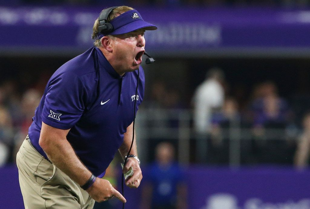 TCU head coach Gary Patterson shouts to players on the field during the AdvoCare Showdown between the Ohio State Buckeyes and the Texas Christian University Horned Frogs on Saturday, Sept. 15, 2018 at AT&T Stadium in Arlington, Texas. (Ryan Michalesko/The Dallas Morning News)