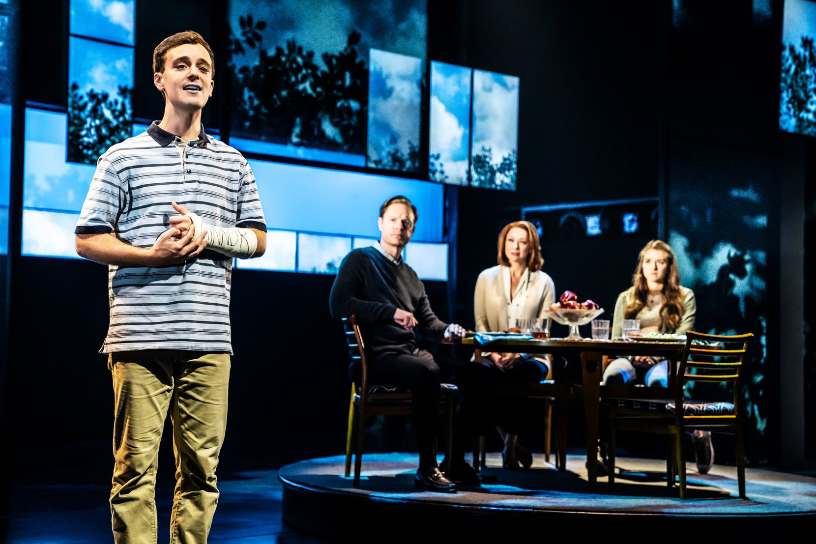 """Stephen Christopher Anthony (left) stars as the title character, a teen whose big lie goes viral, in the national touring production of the Tony Award-winning musical """"Dear Evan Hansen."""""""