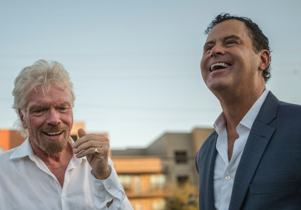 Richard Branson, left, and Raul Leal (CEO, Virgin Hotels) give and interview after the ground breaking in the Design District on Monday, Oct. 17, 2016.   (Rex C. Curry/Special Contributor)