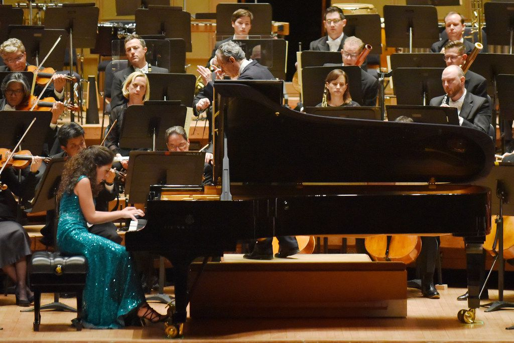Pianist Beatrice Rana (left) performed Beethoven's Emperor Piano Concerto with the Dallas Symphony Orchestra on Sept. 12 at the Morton H. Meyerson Symphony Center in Dallas.