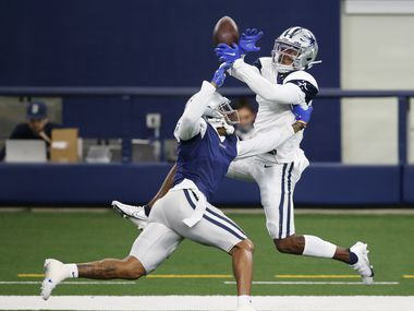 Dallas Cowboys safety Ha Ha Clinton-Dix (27) breaks up a pass intended for Dallas Cowboys wide receiver Aaron Parker (18) in practice on Cowboys Night during training camp at AT&T Stadium in Arlington, Texas on Sunday, August 30, 2020.