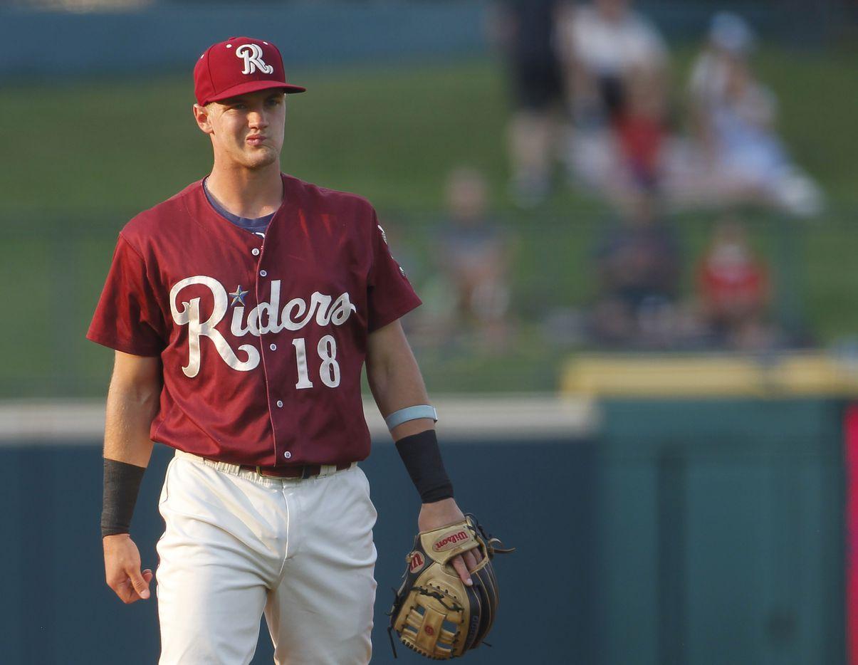 Frisco RoughRiders 3rd baseman Josh Jung (18) waits between pitches during the top of the first inning of play against San Antonio. The two teams played their minor league baseball game at Riders Field in Frisco on June 22, 2021 (Steve Hamm/ Special Contributor)
