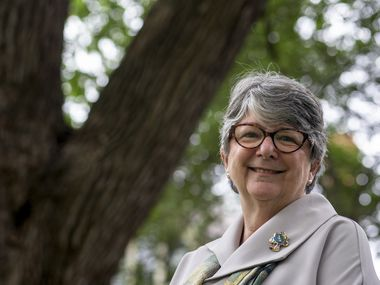 Janette Monear, president and CEO of the Texas Trees Foundation, poses for a portrait at the foundation's office on Swiss Avenue in Dallas. Monear is spearheading efforts to change the city of Dallas' urban landscape by strategically planting 300,000 trees each year.