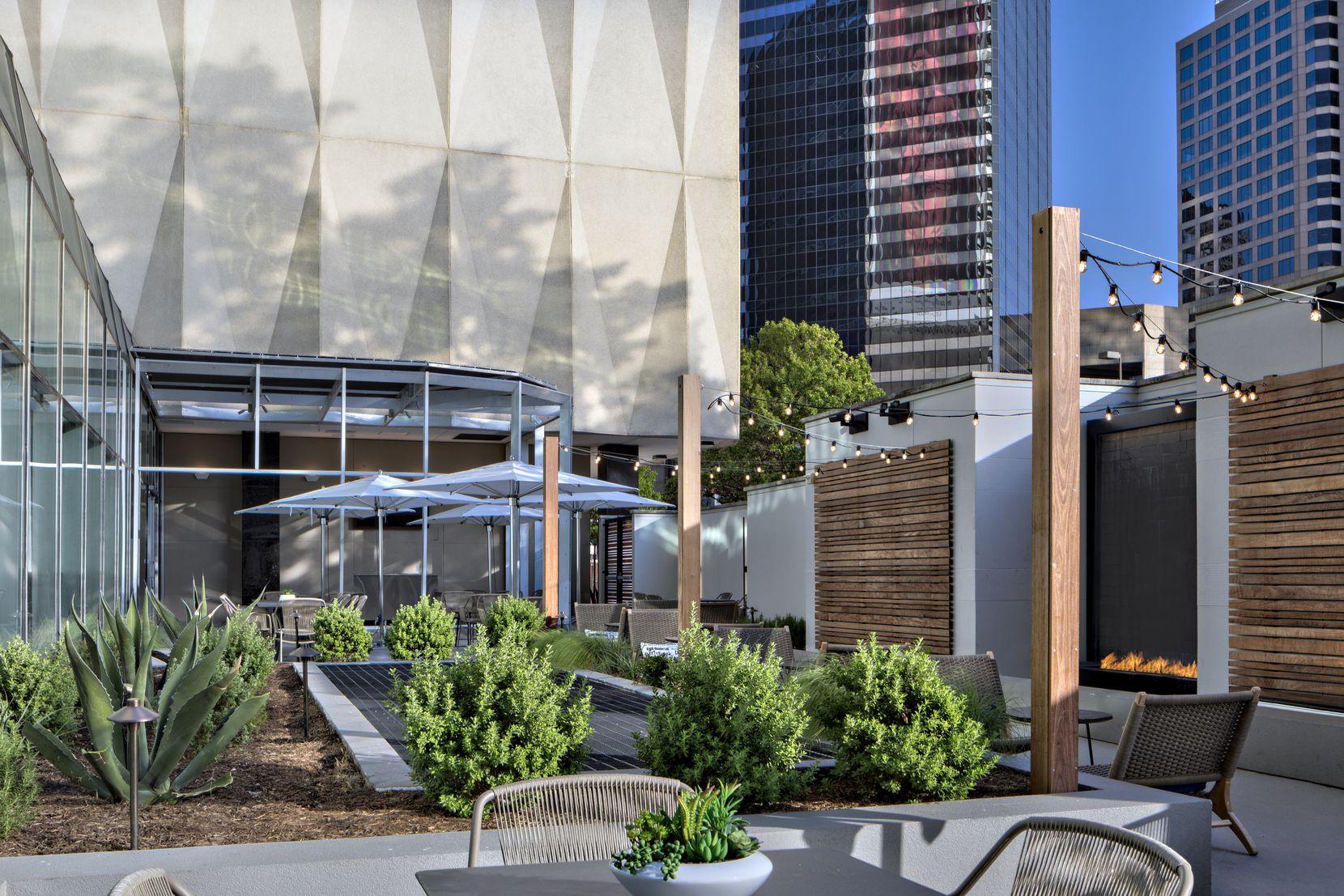 A new courtyard area at the Sheraton Dallas.