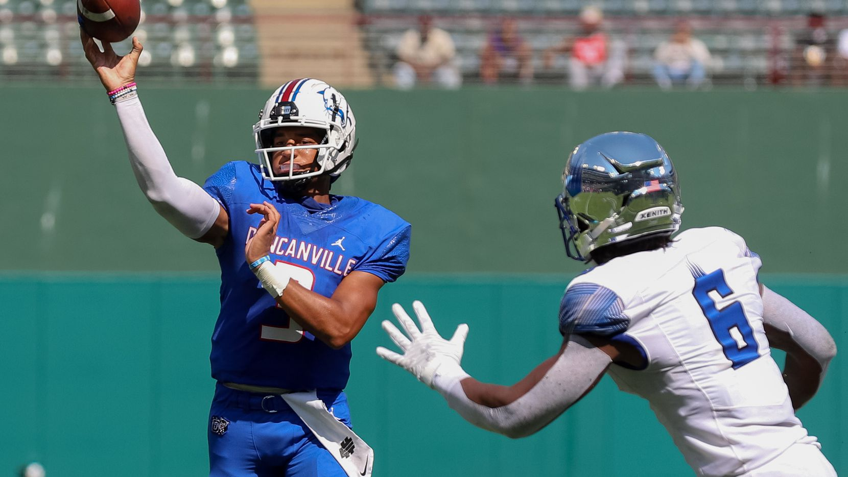 Duncanville quarterback Grayson James throws a pass against Florida's IMG Academy on October 10, 2020. (Elias Valverde II/Special Contributor)