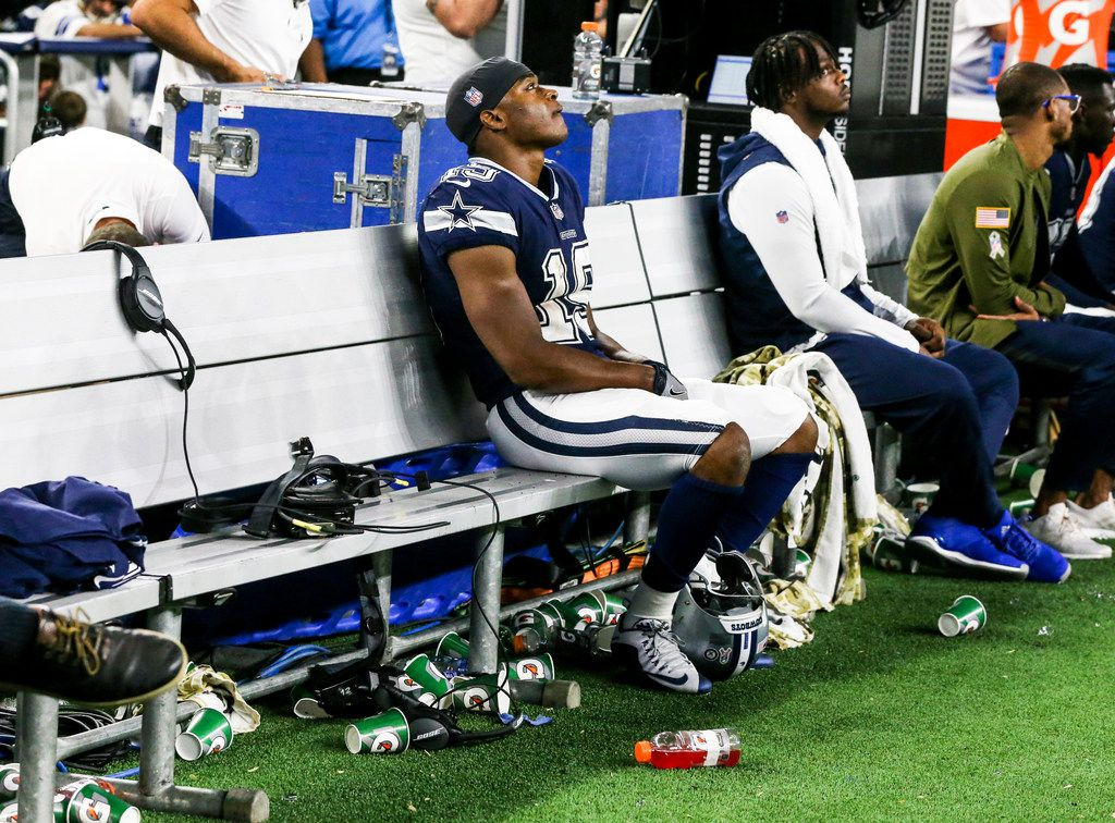 Dallas Cowboys wide receiver Amari Cooper (19) watches the clock run down in the fourth quarter of an NFL game between Dallas Cowboys and Tennessee Titans at AT&T Stadium in Arlington, Texas on Monday, November 5, 2018.