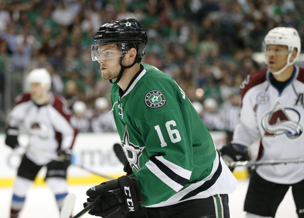 Dallas Stars center Jason Dickinson (16) in his first NHL game against the Colorado Avalanche during the first period of play at American Airlines Center in Dallas on Thursday, April 7, 2016. (Vernon Bryant/The Dallas Morning News)