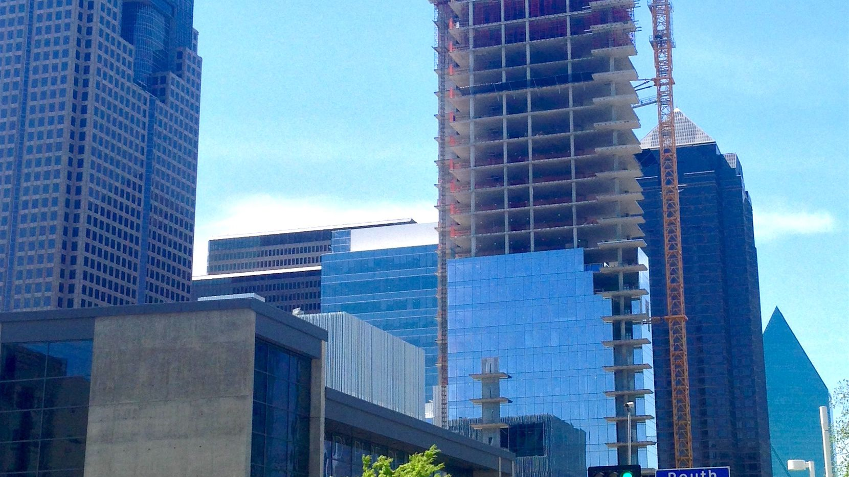 The 28-story Hall Arts Residences is under construction in downtown Dallas' Arts District.