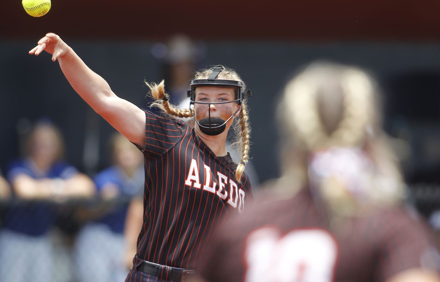 Aledo pitcher Kayleigh Smith (15) throws out a Georgetown batter after fielding a grounder to the mound during the bottom of the first inning of play. The two teams played their UIL 5A state softball semifinal game at Leander Glenn High School in Leander on June 4, 2021. (Steve Hamm/ Special Contributor)