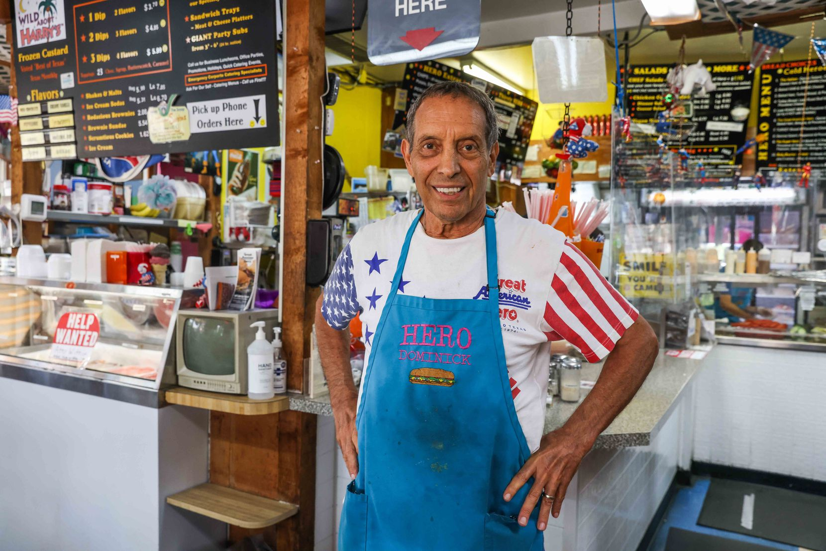 Dominick Oliverie poses at his sandwich shop, the Great American Hero in Dallas on Saturday, July 31, 2021. The shop is closing after 47 years.