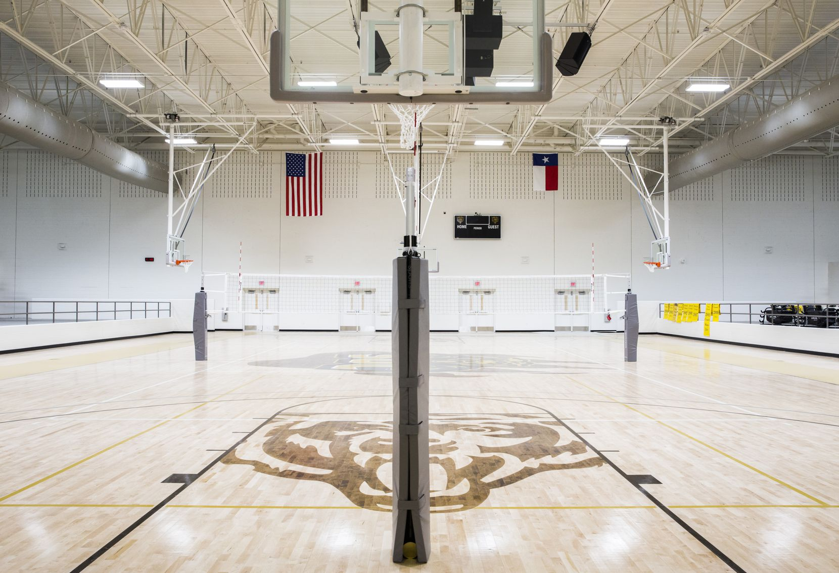 A new gym is almost complete on Thursday, December 19, 2019 at South Oak Cliff High School in Dallas. Workers are finishing a two-year, $52 million renovation to the campus. (Ashley Landis/The Dallas Morning News)