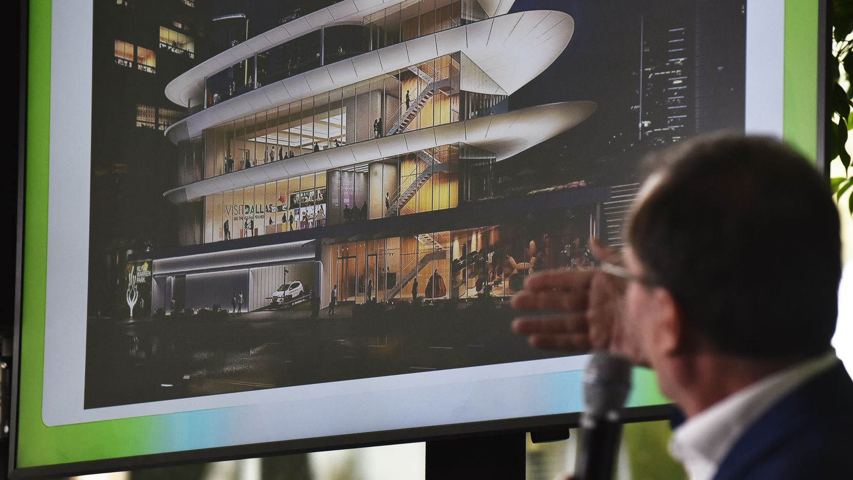 David Epstein, design director for Gensler, speaks about the future expansion of Klyde Warren Park and specifically The Pavilion, shown on screen, Tuesday morning Oct. 15, 2019 at a press conference held at the restaurant Savor in Dallas.