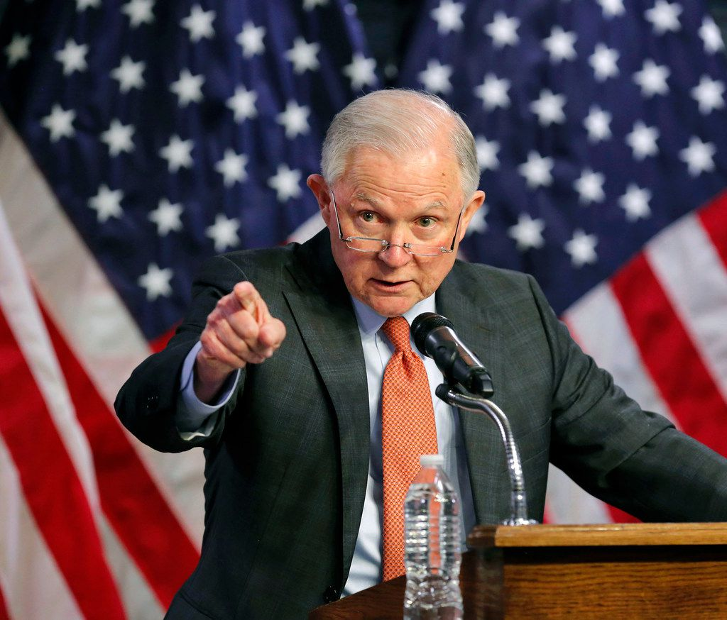 U.S. Attorney General Jeff Sessions speaks at a meeting of the Oklahoma Sheriff's Association on the campus of Rose State College in Midwest City, Okla., Thursday, Oct. 19, 2017. (Jim Beckel/The Oklahoman via AP)