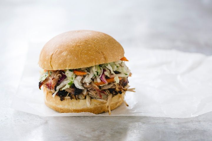 18th & Vine's Dizzy Sandwich is pulled pork and cole slaw.