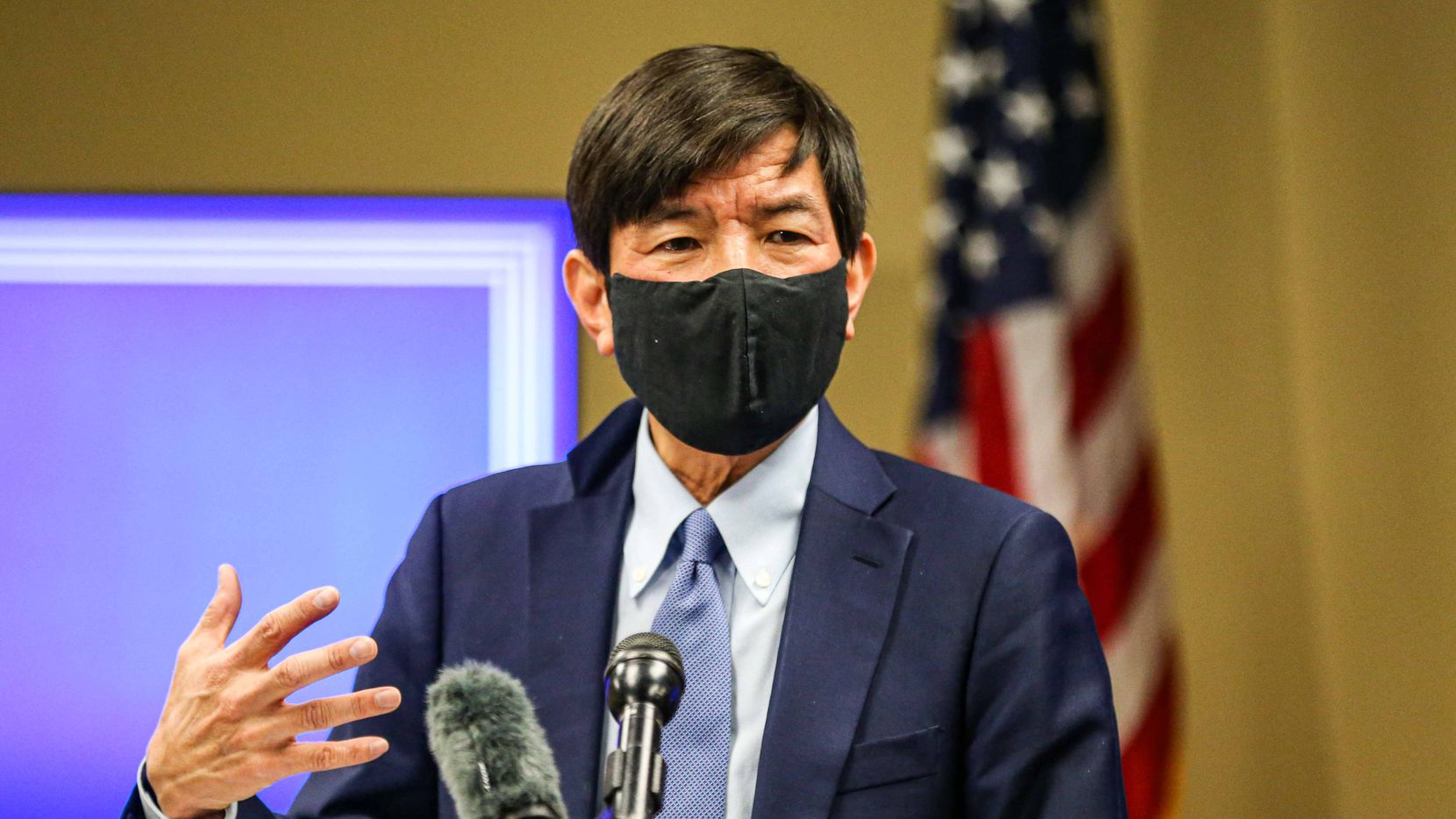 Dr. Philip Huang, Director of the Dallas County Health and Human Services, during a press conference to discuss the coronavirus pandemic in Dallas on  Dec. 18, 2020. Dallas County Health and Human Services is distributing housing assistance funded by the CARES Act.