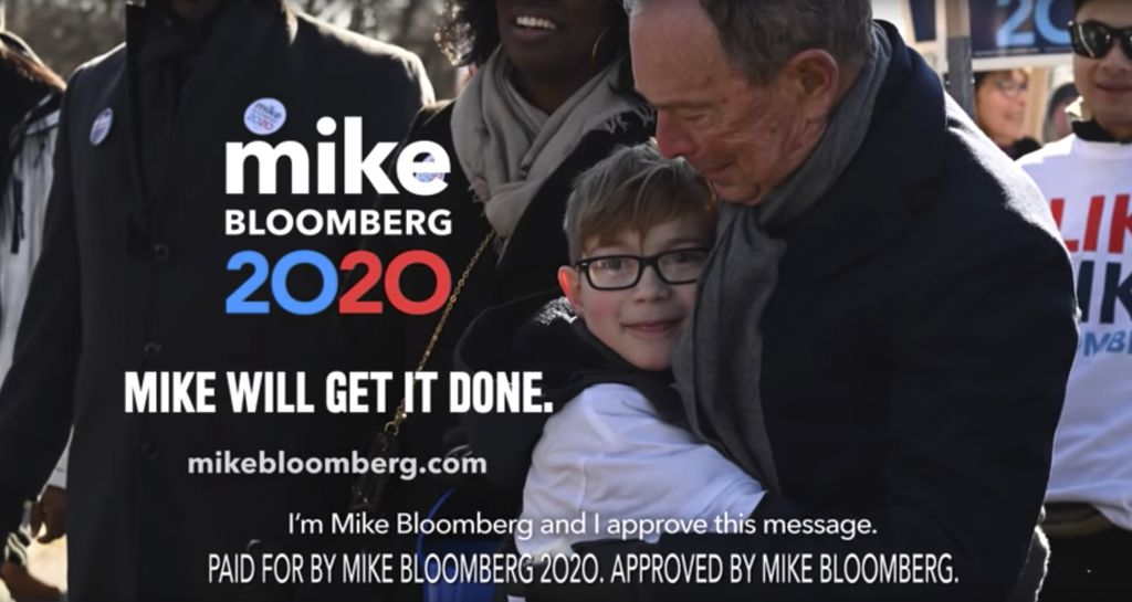 This image provided by Mike Bloomberg's campaign shows a scene from his 2020 Super Bowl NFL football spot. This was the first time that national politics invaded the game as he and President Trump shelled out millions to broadcast campaign ads during advertising's biggest night.