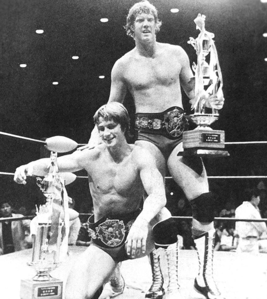 Kevin (left) and David (right) Von Erich celebrate winning the All Asia Tag Team Championship in Tokyo on May 23, 1981. Courtesy: Kevin Von Erich