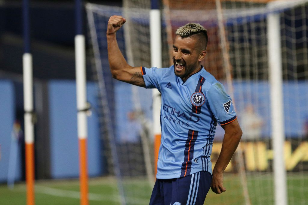 New York City FC midfielder Maximiliano Moralez celebrates after he scored a goal during the second half of an MLS soccer match FC Cincinnati, Thursday, June 6, 2019, in New York. New York City FC won 5-2. (AP Photo/Steve Luciano)