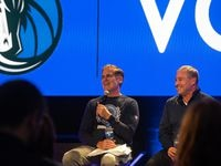 Mark Cuban announces the Dallas Mavericks' five-year partnership with Voyager Digital alongside CEO Stephen Ehrlich during a news conference at the Mavs Gaming Hub in Dallas, TX on October 27, 2021. Voyager is a cryptocurrency trading platform and is the team's first international partnership.