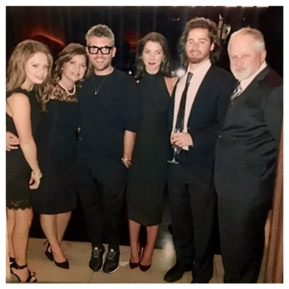 (from left) Brandon Maxwell's half-sister, Bianca Woolley, mother Pam Woolley, Brandon Maxwell, sister Kady Maxwell, half-brother Ben Woolley and stepfather, Gordon Woolley at Brandon Maxwell's first Fashion Week show on Sept. 14, 2015.