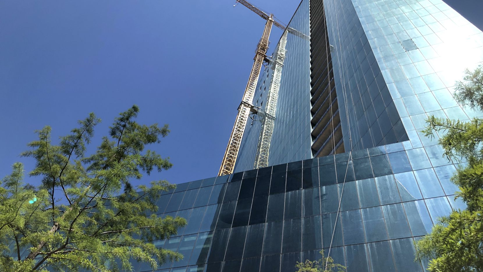 The 45-story Amli Fountain Place tower is under construction on the north side of downtown Dallas