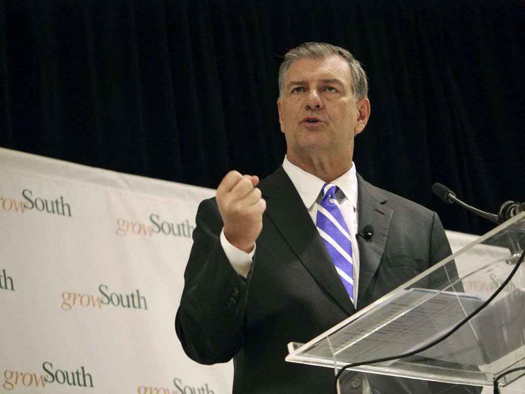 Dallas Mayor Mike Rawlings gives his address on the state of GrowSouth, his initiative to increase economic opportunities in southern Dallas, at Yvonne A. Ewell Townview Magnet Center in Dallas, Texas Tuesday April 29, 2014. (Ron Baselice/The Dallas Morning News)