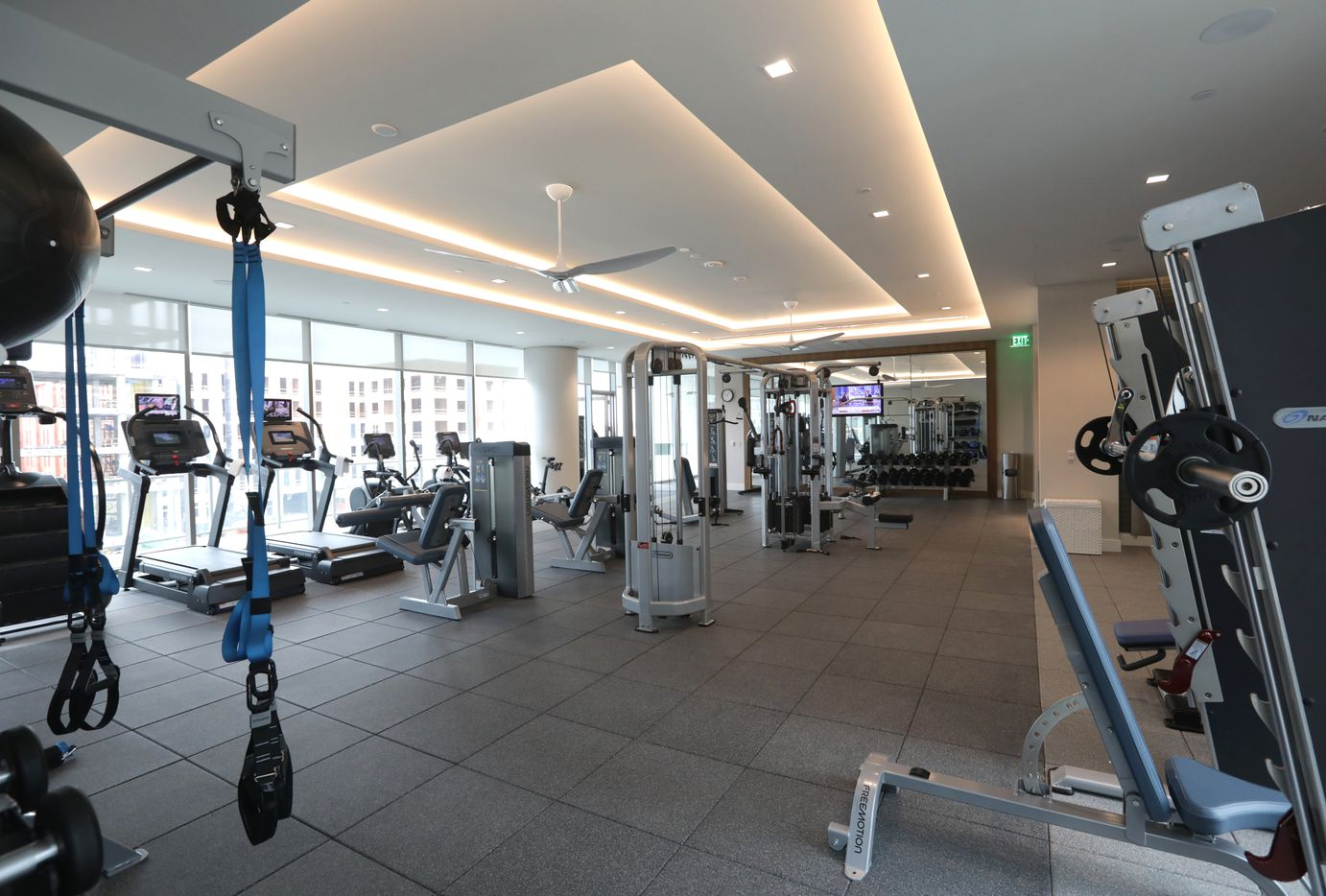 The workout area at Windrose Tower in Plano. (Jason Janik/Special Contributor)
