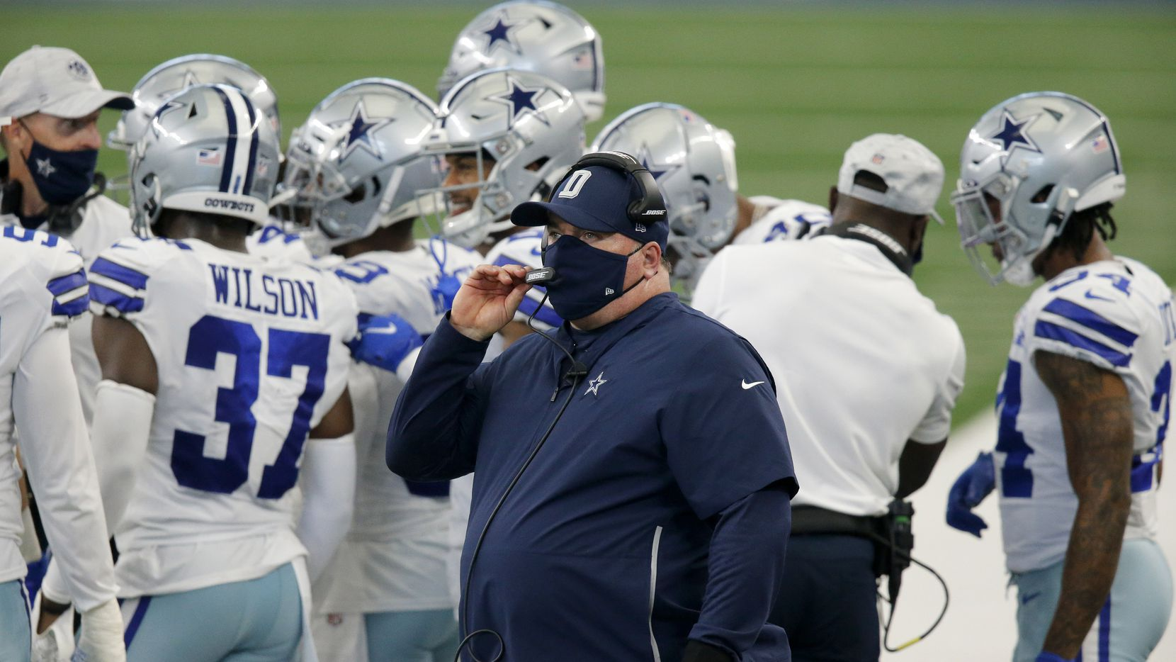 Dallas Cowboys head coach Mike McCarthy is pictured on the sideline after his team scored a second quarter touchdown against the New York Giants at AT&T Stadium Stadium in Arlington, Texas, Sunday, October 11, 2020.