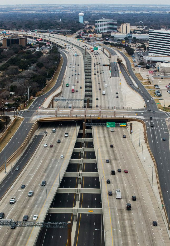 Interstate 635 as viewed looking west from a helicopter on Wednesday, January 4, 2017 in Dallas.