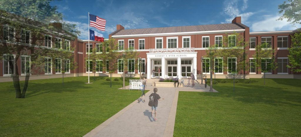 A 2015 rendering of the new Hyer Elementary School in Highland Park ISD.