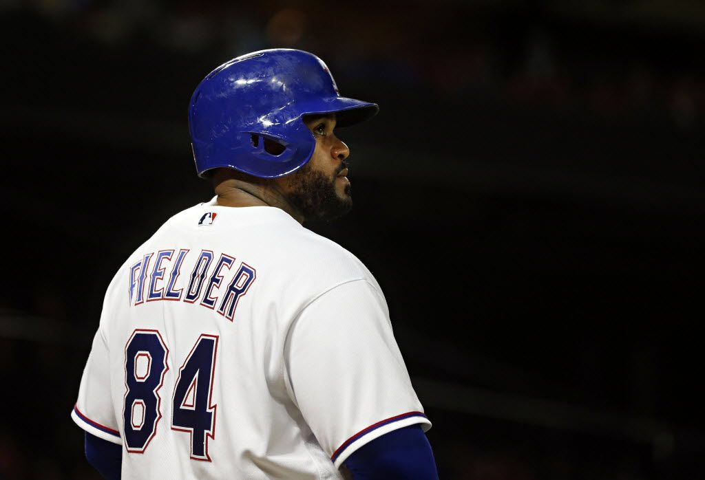 Texas Rangers designated hitter Prince Fielder looks up at the scoreboard during an 8-7 loss to the Boston Red Sox Friday, June 24, 2016 at Globe Life Park in Arlington, Texas. (G.J. McCarthy/The Dallas Morning News)