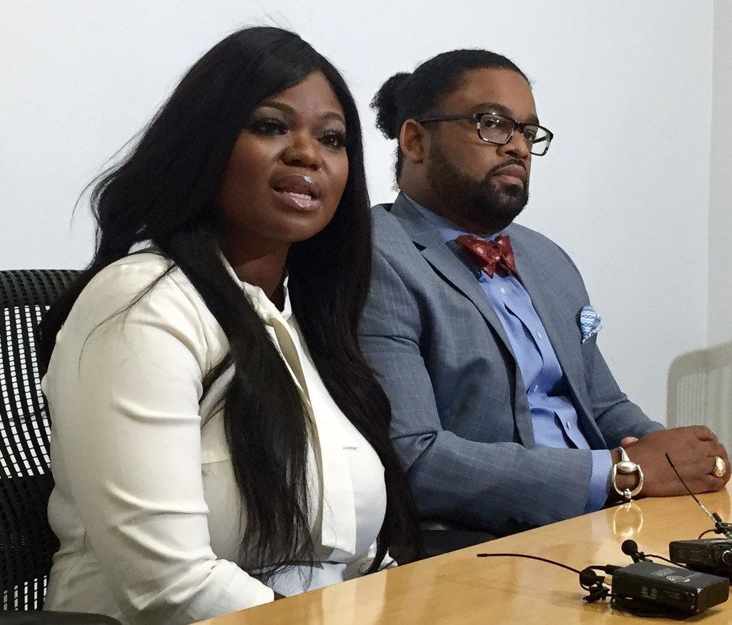 """Zonya Robinson, 36, discusses what she describes as a """"traumatic"""" Uber driving experience alongside her attorney, Larry Taylor, on Monday morning."""
