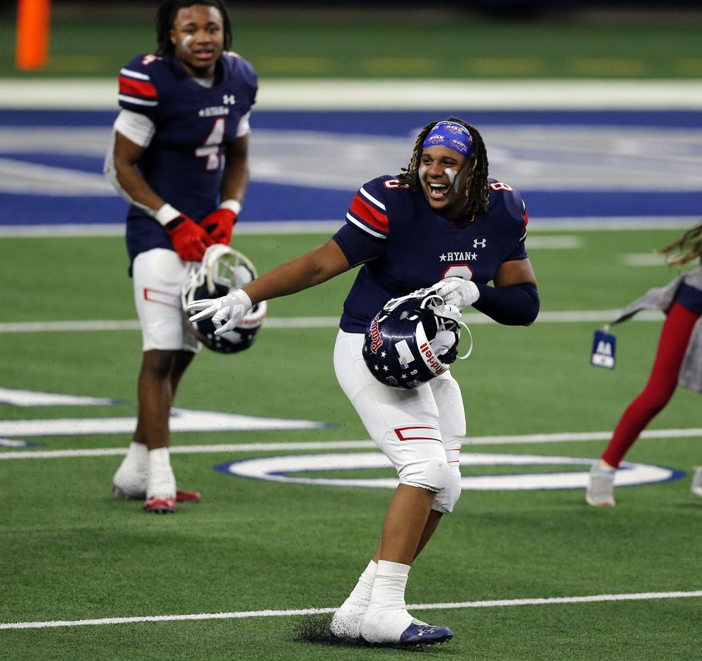 Denton Ryan's DT Jay Sheppard (8) dances on the field the Class 5A Division I state semifinal football playoff game against Mansfield Summit High at AT&T Stadium in Arlington on Friday, January 8, 2021. Ryan won 49-35. (John F. Rhodes / Special Contributor)