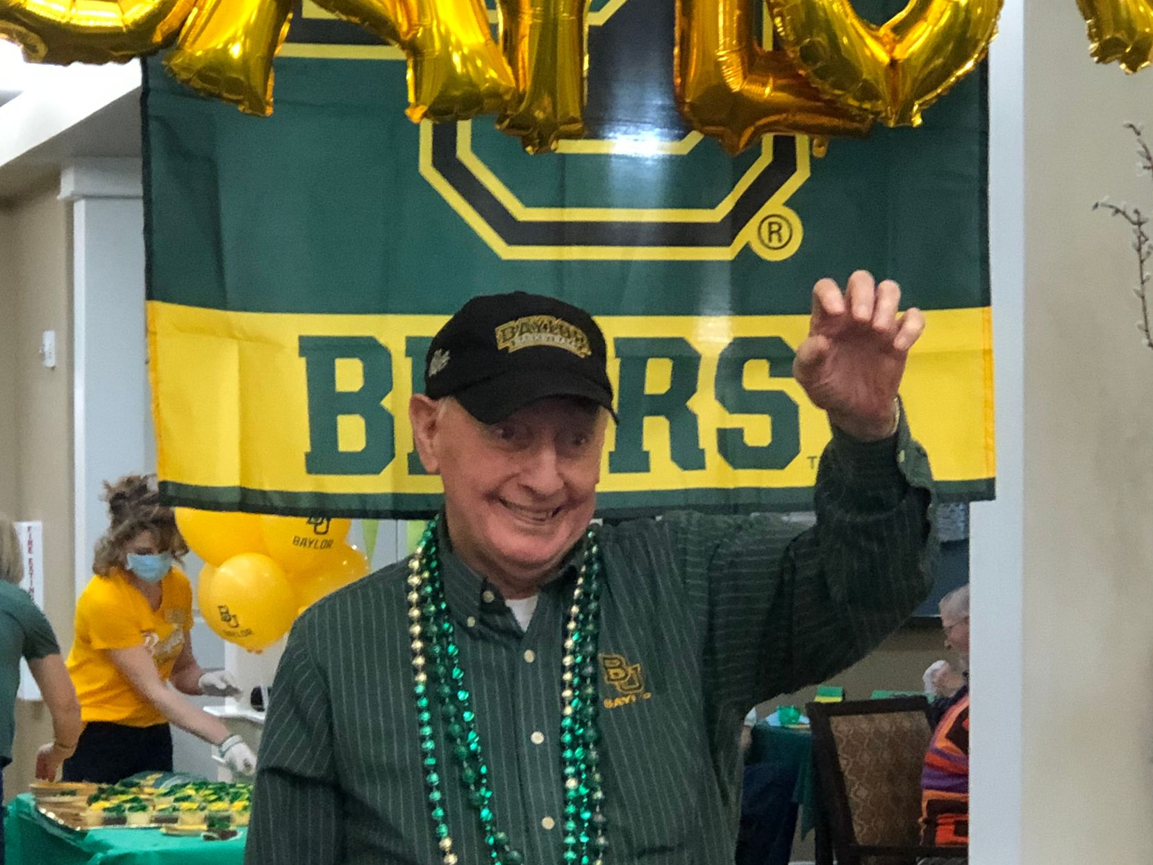 Former Baylor basketball player Bill Fleetwood celebrates during a party in his honor in March.