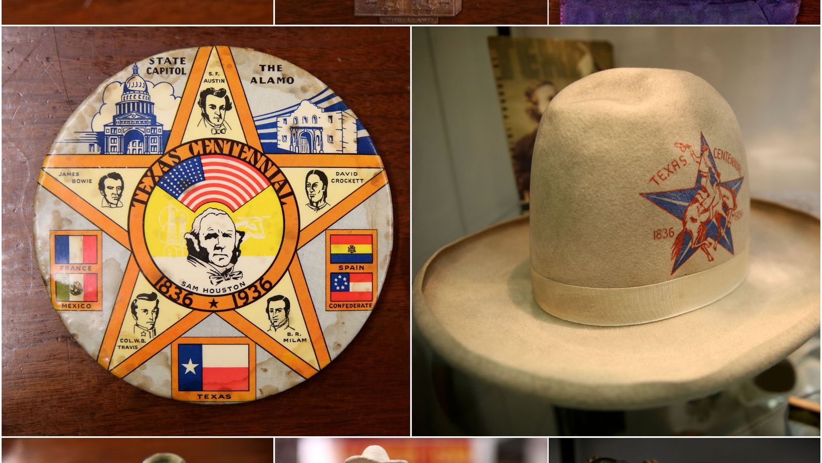 """Some of the quirky and memorable pieces in the State Fair's Kavanaugh collection and the other archives from Fair Park's past, photographed at the State Fair of Texas administrative office at Fair Park in Dallas on Wednesday, Jan. 10, 2018. Clockwise from top left: 1) A souvenir pin cushion from the Texas Centennial Exposition in 1936 -- 2) A souvenir pin from the Texas Centennial Exposition in 1936, with the rivers of Texas highlighted on the state map -- 3) A vintage ribbon for the best dozen white eggs -- 4) A commemorative hat from the Texas Centennial Exposition in 1936 worn by oil tycoon and Dallas billionaire H.L. Hunt, and later his son Lamar Hunt. It is one of many similar hats on display around Fair Park and in the Kavanaugh collection. -- 5) The Pan American Lock, which was made for the opening ceremonies of the Greater Texas & Pan-American Exposition in 1937. The diamond-encrusted lock made with pearls is on display in the State Fair of Texas administration building year-round. -- 6) A ceramic statue of a """"Texas Cow Boy"""" souvenir from the Texas Centennial Exposition in 1936. -- 7) A clay water jug and cup set hand-painted in Mexico especially for the Texas Centennial Exposition in 1936. -- 8) A large commemorative button from the Texas Centennial Exposition in 1936."""