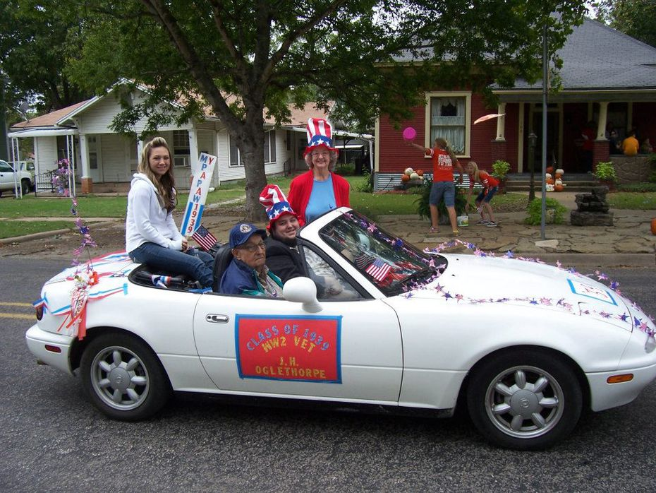 Dallas Morning News copy editor Kim Oglethorpe made mums for her daughter's homecomings sourcing items from The Saleplace. She got into it -- so much so, she even wound up making a garter for her late dad. Here, he's repping the Teague High School class of 1939 in the homecoming parade, a memory Kim and her family cherish.
