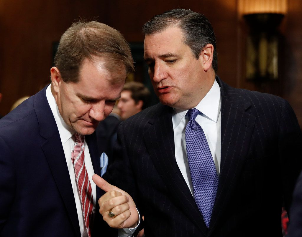 Don Willett (left) talked with Judiciary Committee member Ted Cruz, R-Texas, after Willett testified during a committee hearing Wednesday. Willett has been nominated to the 5th U.S. Circuit Court of Appeals.