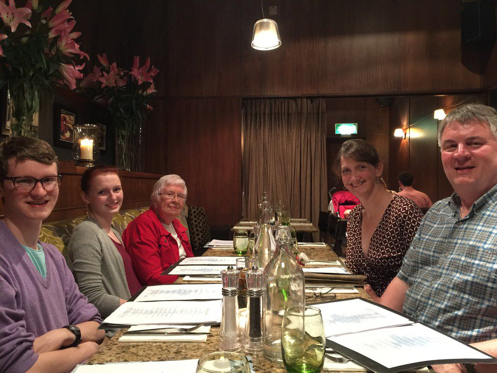 Three generations of Suzanne Lewis'  family gathered for dinner at the Le Bon Crubeen restaurant in Dublin in June 2016.